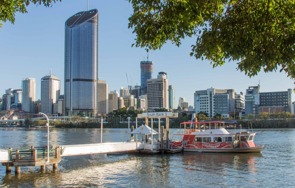 Catch the free CityHopper Ferry from South Bank Ferry Terminal 3.