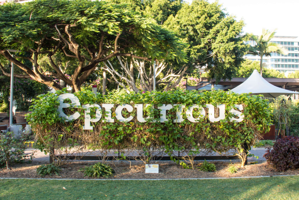 Visit Epicurious Garden to see exotic plants and fragrant herbs.