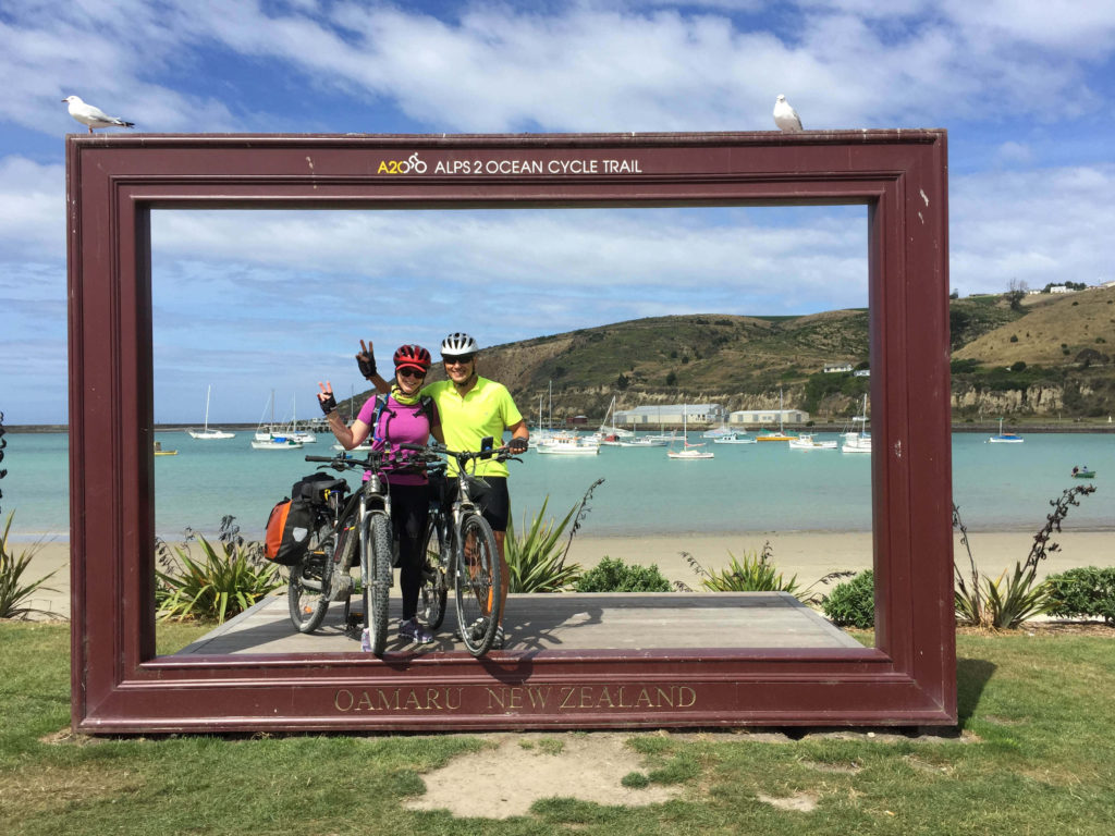 Alps 2 ocean Cycling Holiday - the finish line at Oamaru
