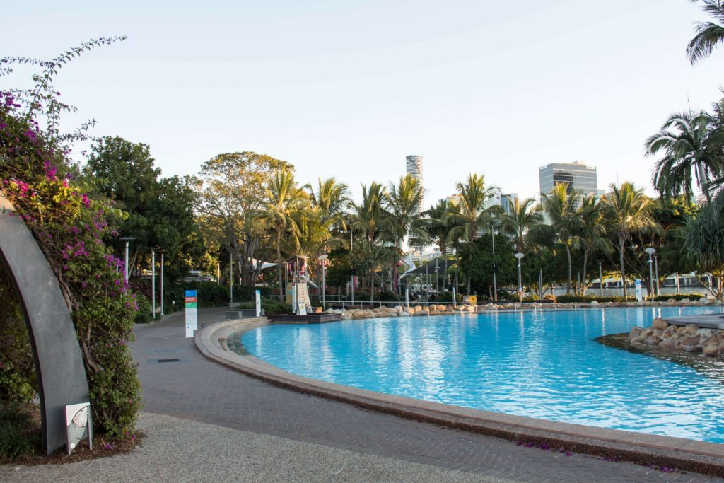 The Boat Pool at Brisbane's South Bank Parklands is a popular swimming location for all ages.