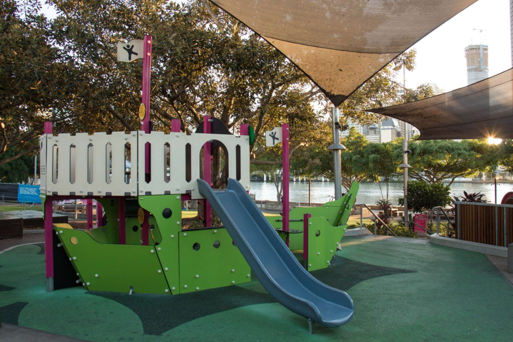 The brightly coloured Pirate Ship at Riverside Green Playground, South Bank, Brisbane.