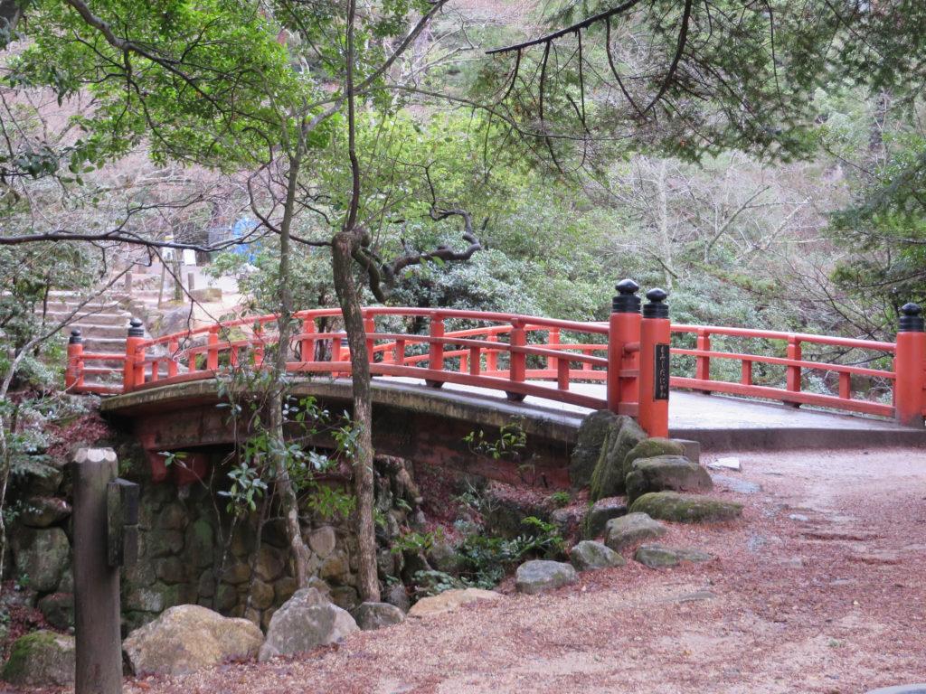 Traditional Japanese bridge in Momijidani Park