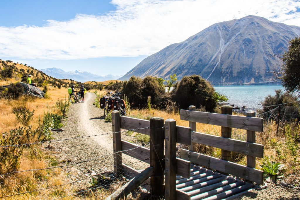 Alps 2 Ocean Cycling Holiday New Zealand - admiring the view of the Ben Ohau Range