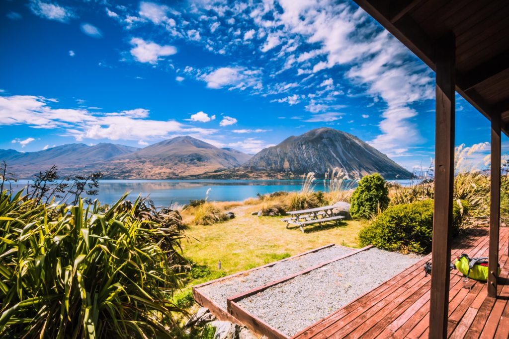 Planning a cycling holiday. View from our accommodation of Lake Ohau.