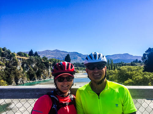 Susan and John on the Lower Shotover River Bridge just outside of Queenstown, NZ.