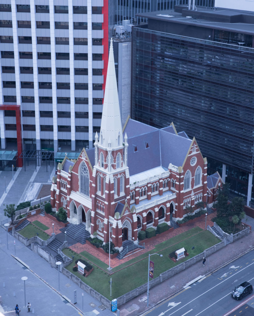 View of the Albert Street Uniting Church while on the Brisbane City Clock Tower Tour